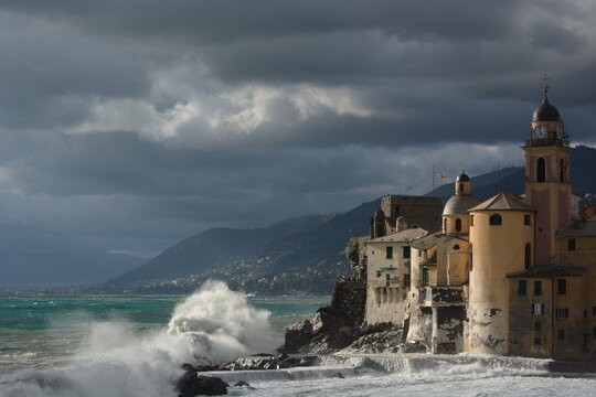 Sea storm in Camogli. Liguria. Italy