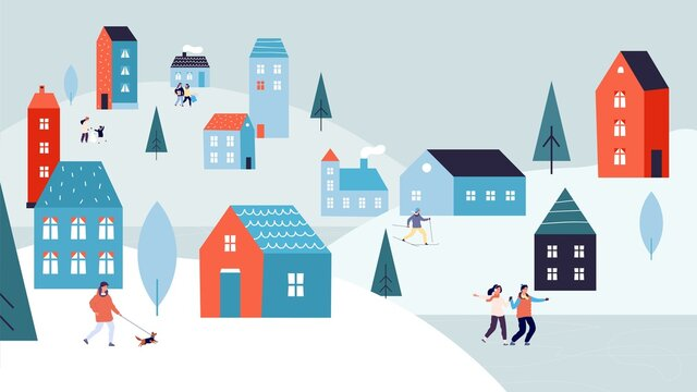 Winter urban landscape. Christmas vacations, holiday season in city. Tiny people skating on lake walking dog. Cute suburb houses on snowy hills vector illustration. Village christmas season