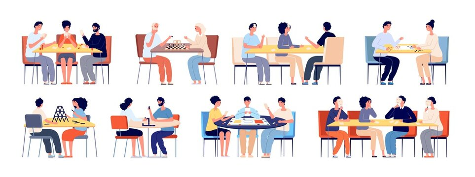 People play board game. Family playing cards, friends at table gaming. Happy young and elderly players, chess chips poker gamers vector set. Board game strategy, people pastime illustration
