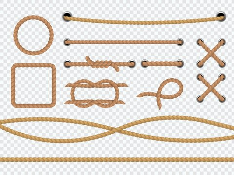 Realistic ropes. Marine round and square cord borders, brown jute or hemp cordage with tie, loop and knot, curve straight lasso sailing vector 3d frames on transparent background