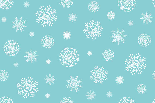 Christmas seamless pattern with snowflakes on a white background. Vecto