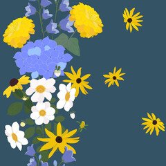 Seamless vector floral illustration with a bouquet of hydrangea, bluebells, rudbeckia, dahlia