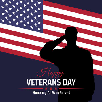 Happy veterans day banner, silhouette of a saluting us army soldier veteran on flag background. US national day november 11. American flag. Poster, typography design, vector illustration
