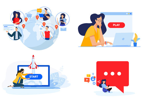 Set of people concept illustrations. Vector illustrations of social network, internet community, video streaming, startup, launching a web project