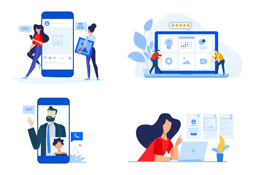 Set of people concept illustrations. Vector illustrations of video call, networking, content review, sharing images, social media profile.