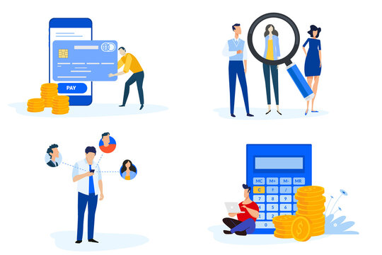 Set of people concept illustrations. Vector illustrations of m-commerce, online payment, e-banking, communication, human resources and career, accounting