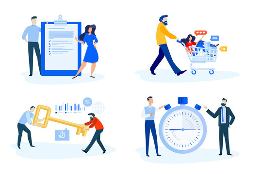 Set of people concept illustrations. Vector illustrations of shopping, key account, time management, survey .