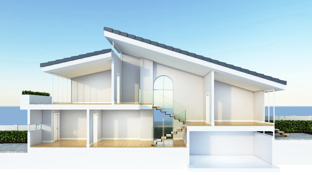 Modern home cross section, suitable for smart home or sustainable housing infographic overlay, 3d rendering