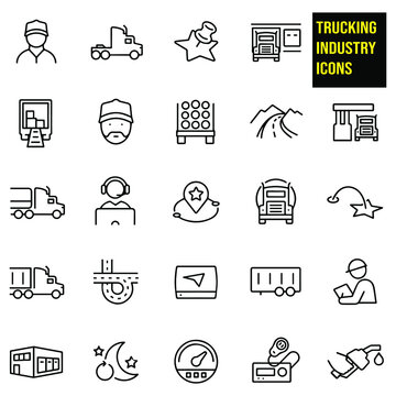 Trucking Thin Line Icons - stock illustration. a truck driver, semi-truck, loading bay, map marker, open semi truck with boxes, truck with lumber, country road, highway, gas station, fuel tanker