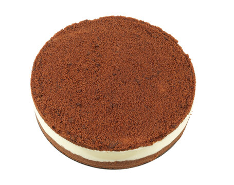 Chocolate cake isolated on a white background, top view