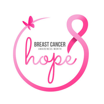 breast cancer awareness month - hope text in pink ribbon circle frame and butterfly banner vector design