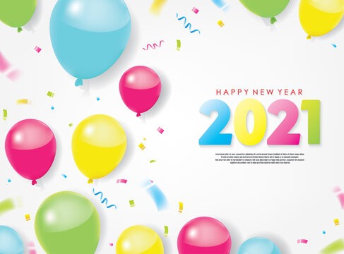 Colorful 2021 Happy New Year Greeting with Balloons and Scattered Conffetis. Vector Illustration. Design element for flyers, leaflets, postcards and posters.