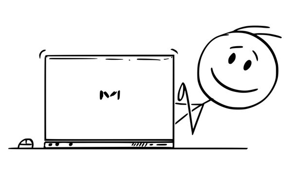 Vector cartoon stick figure drawing conceptual illustration of smiling happy man, office worker or businessman typing on computer and looking from behind laptop.