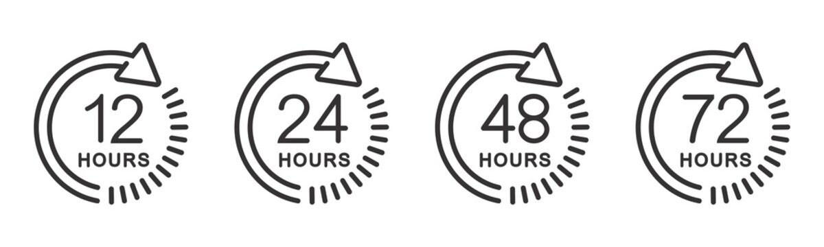 12, 24, 48 and 72 hours clock arrow. symbol work time, delivery and service time, isolated on white , vector icon Illustration