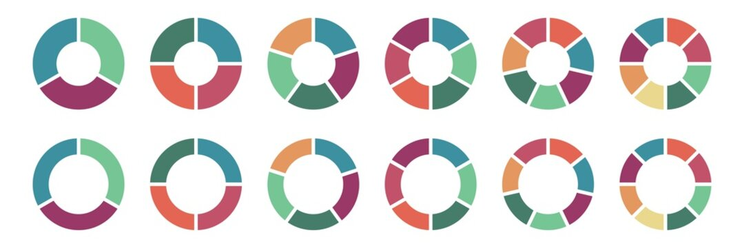 Pie chart icon set, Circle icons for infographic. Colorful diagram collection with ,3,4,5,6,7,8 sections and steps. Pie chart for data analysis, business presentation, UI, web design. Vector illustrat