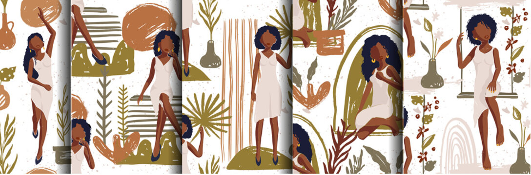 African American Pretty Girl Seamless Vector Pattern Set. Hand Drawn Textured Illustration of Black Woman. Fashion Background Collection on White.