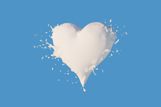 milk heart splashes close-up concept