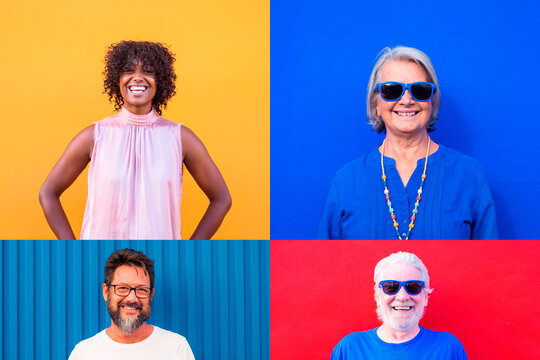 collage and montage of group of four people smiling and having fun wiht colored backgrounds - adults and seniors of all ages and ethnicity enjoying