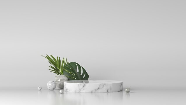Luxury white marble showcase podium and leaves in background