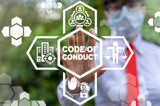 Code of conduct business concept. Employee behavior during coronavirus pandemic.