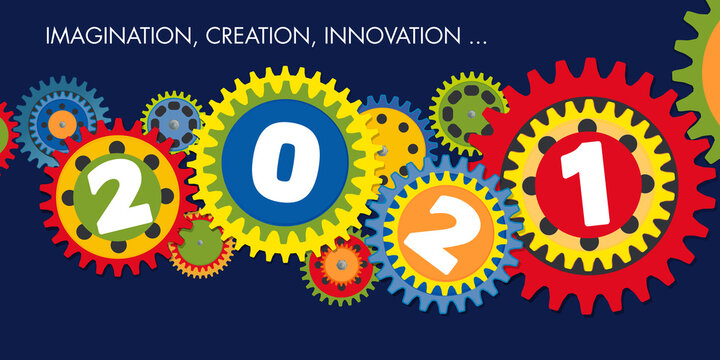 Carte de voeux de présentation, sur le concept de l'innovation et l'esprit d'équipe pour une entreprise, dans le but de réussir ses objectifs 2021.