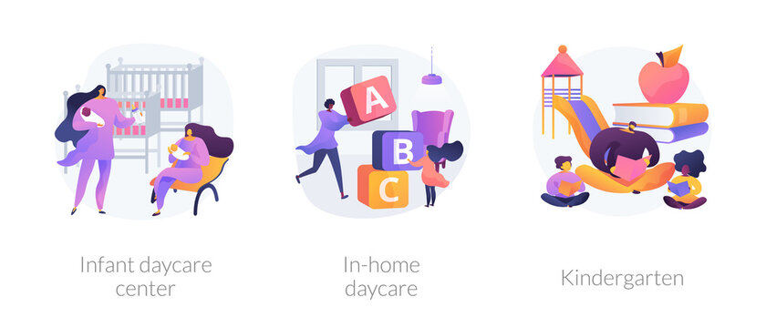 Child care abstract concept vector illustration set. Infant daycare center, in-home daycare, kindergarten,early kid development, nursery home, early education, preschool program abstract metaphor.