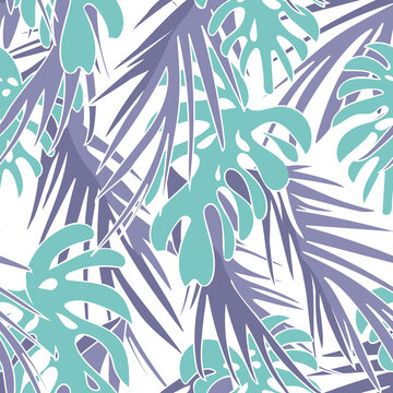 Tropical Leaves Seamless Pattern. Hand Drawn Background.