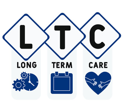 LTC - Long Term Care acronym, medical concept background. vector illustration concept with keywords and icons. lettering illustration with icons for web banner, flyer, landing page