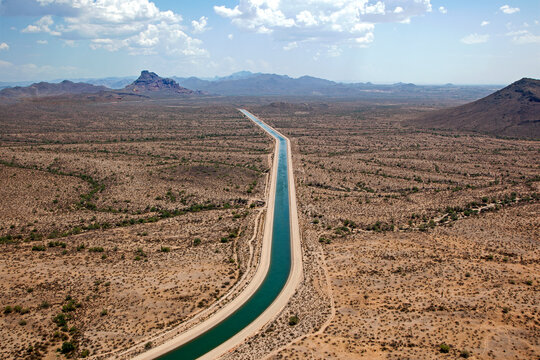 Central Arizona Project canal flowing between Mesa and Fountain Hills