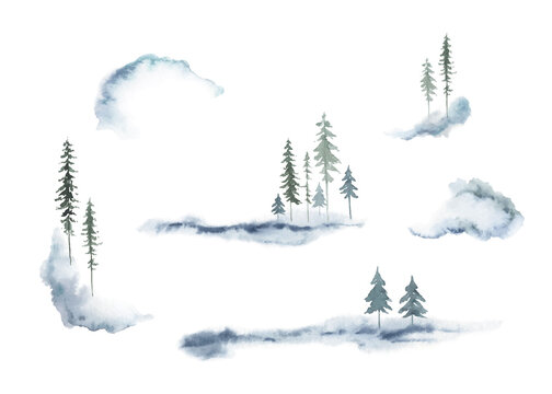 Watercolor vector set of forest winter landscapes.