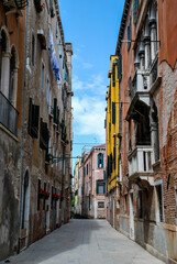 narrow street in venice italy, digital photo picture as a background