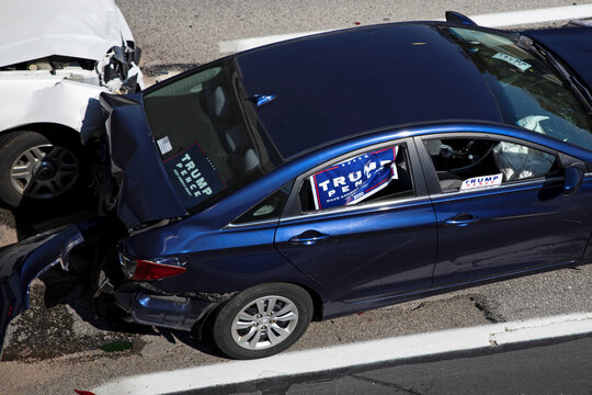 Scene of a crash that took place during a a car parade in support of U.S. President Donald Trump in Columbus