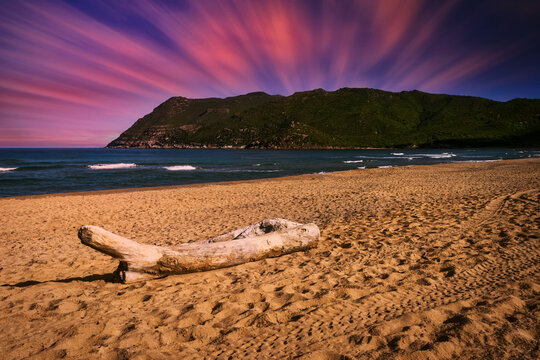 Landscape of beach at dramatic sunset