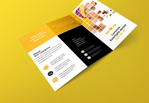 Business Trifold Brochure with Yellow Rectangular Boxes