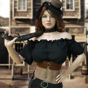 Portrait of a sassy redheaded female posing with a shotgun and traditional western themed clothing and background. 3d rendering