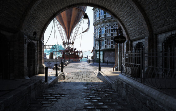 Steampunk style city streets with a view through a tunnel and a airship steam powered hot air balloon in the background . 3d rendering