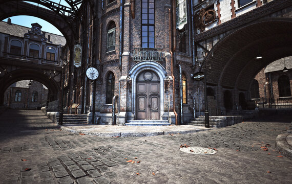 Steampunk style city streets with building background. 3d rendering