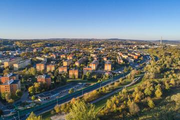 Gorlice, panorama miasta z lotu ptaka
