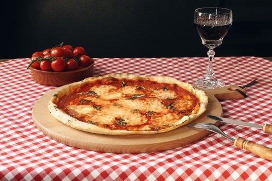 Dinner today:  Fresh homemade pizza Margherita with buffalo mozzarella and basil