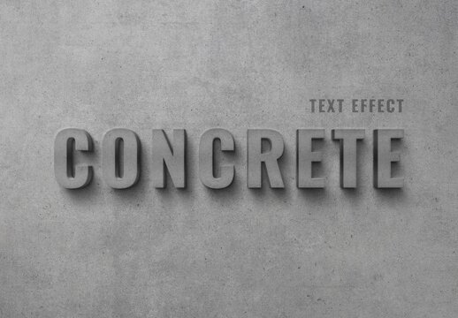 Concrete Wall 3D Text Effect Mockup