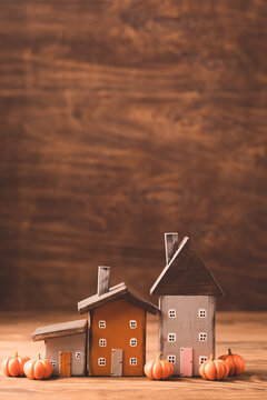 Miniature cute Thanksgiving little autumn cottages, toned