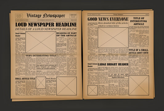 Old Vintage Newspaper Cover Page Empty Template Mockup Design. Vector