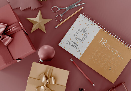 Calendar with Holiday Ornaments Mockup