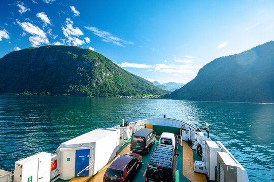 EIDSDAL, NORWAY - AUGUST, 17, 2020: Ferry crossing between Linge and Eidsdal on the scenic Route 63 across the Tafjorden