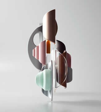 Collage of colorful plastic shapes