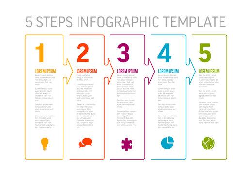 Five White  Arrow Shape Steps Process Infographic Layout