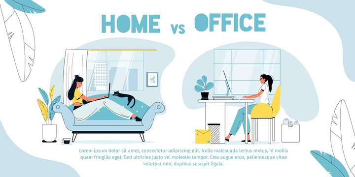 Home vs office. Employee against freelancer. Freelance woman working online in living room sitting on soft couch. Female worker sitting in office at computer. Advantage disadvantage comparison poster