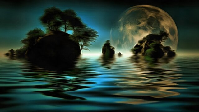 Islands with green trees. Big moon at the horizon. 3D rendering
