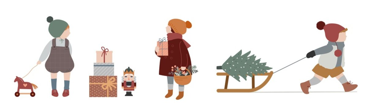 Vintage style cute Scandinavian winter kids. Children and babies wearing fashion bohemian clothes. Retro style vector illustrations. Fashion concept
