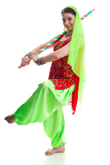 Bollywood dancer in traditional vivid Indian dress in various poses
